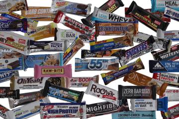 Proteinriegel Verpackungen Collage